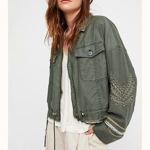 Free People Extreme Crop Military Jacket